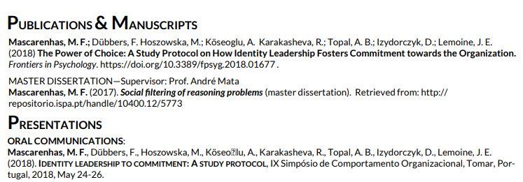 cv academico publicacoes